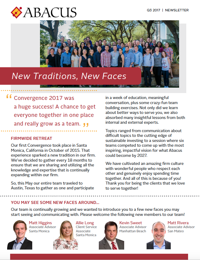 New Traditions, New Faces